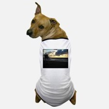 Lifeguard Chair against Lake Erie Sunset Dog T-Shi