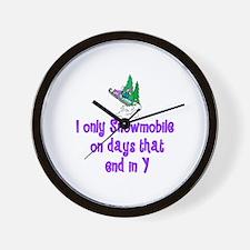 SnowmobileChick Days Wall Clock