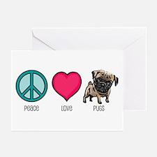 Peace Love & Pugs Greeting Cards (Pk of 10)