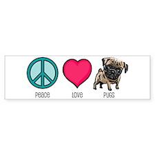 Peace Love & Pugs Bumper Bumper Sticker