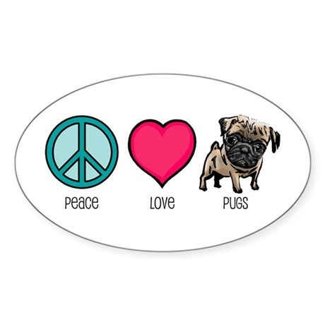 Peace Love & Pugs Oval Sticker