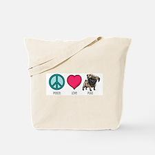 Peace Love & Pugs Tote Bag