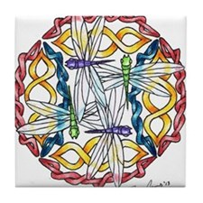Ryan James Celtic Dragonflies Design Tile Coaster
