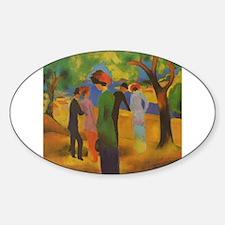 Macke - Woman in Green Jacket Sticker (Oval)