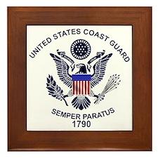 USCG Flag Emblem Framed Tile