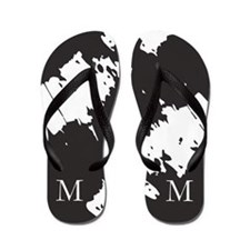 Monogram BLACK WHITE Personalized Flip Flops