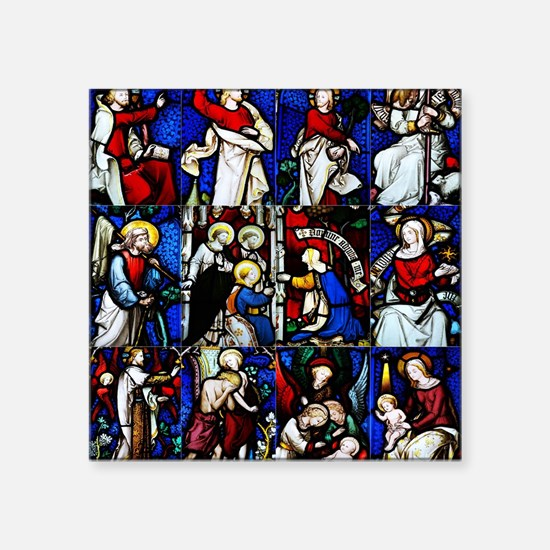 """Religious stained glass win Square Sticker 3"""" x 3"""""""