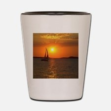 A Sailing Boat at Sunset in Ibiza Shot Glass