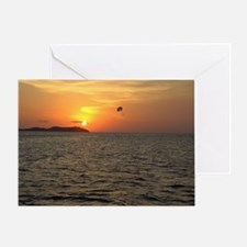 Paraglider at Sunset Greeting Card