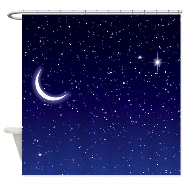 Night sky with moon and stars shower curtain by for Night sky fabric uk