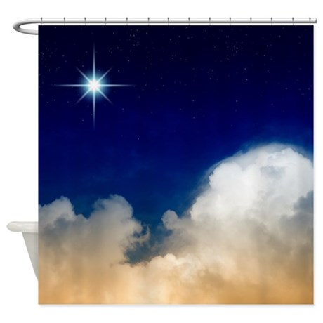 Bright Star over Clouds in Sky Shower Curtain