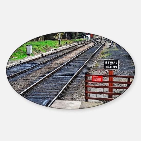Beware of trains Sticker (Oval)