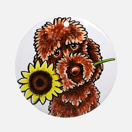 Sunny Chocolate Labrodoodle Ornament (Round)
