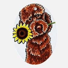 Sunny Chocolate Labrodoodle Ornament (Oval)