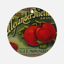 Vintage Fruit Vegetable Crate Label Ornament (Roun