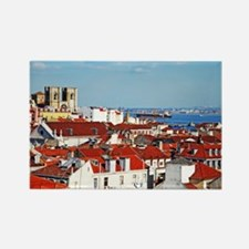 Lisbon cityscape with Se Cathedra Rectangle Magnet