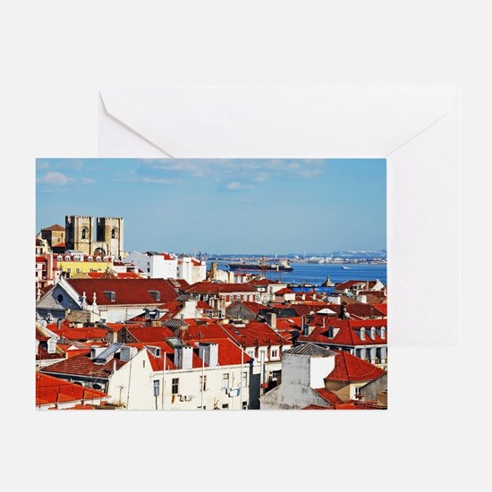 Lisbon cityscape with Se Cathedral Greeting Card
