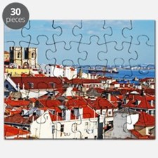 Lisbon cityscape with Se Cathedral Puzzle