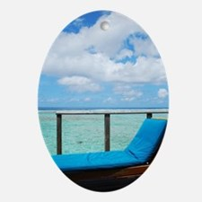 Water villa balcony in Maldives Oval Ornament