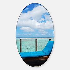 Water villa balcony in Maldives Sticker (Oval)