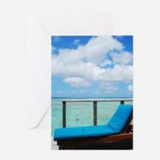 Water villa balcony in Maldives Greeting Card