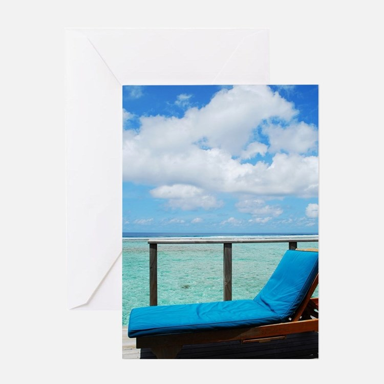 Water villa balcony in Maldives Greeting Card