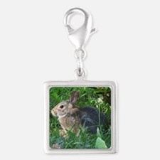Cute Cuddly Bunny Silver Square Charm