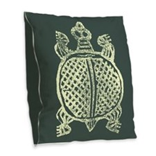 Stamped Turtle Burlap Throw Pillow