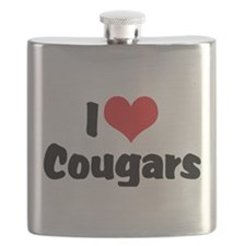 I Love Cougars Flask