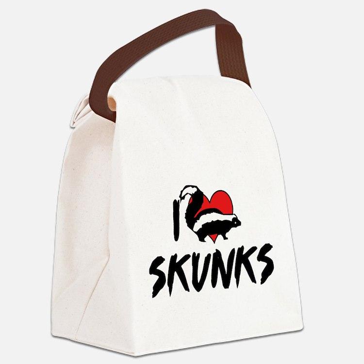 I Love Skunks Canvas Lunch Bag