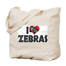 I Love Zebras Tote Bag