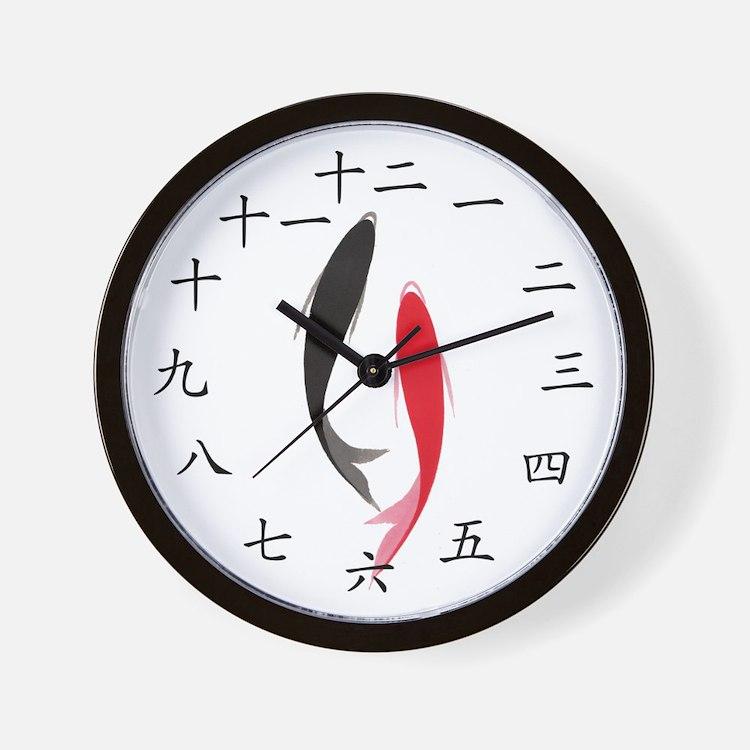 Chinese Fish Wall Clock