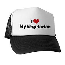 I Love My Vegetarian Trucker Hat