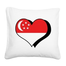 I Love Singapore Square Canvas Pillow