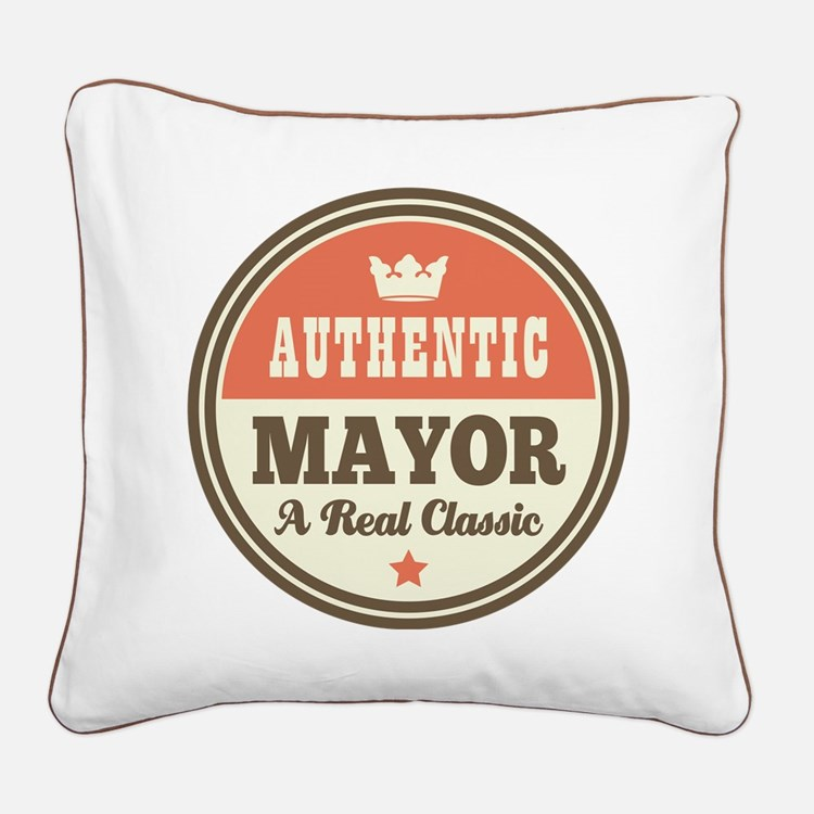 Mayor Funny Vintage Square Canvas Pillow