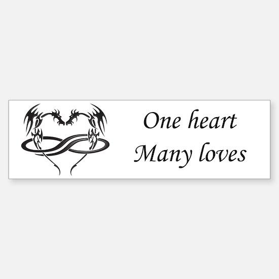 One Heart Poly Dragon Bumper Bumper Bumper Sticker