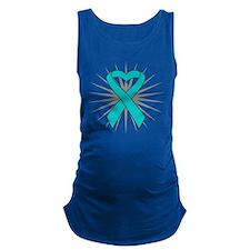 Ovarian Cancer Heart Ribbon Maternity Tank Top