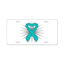 Ovarian Cancer Heart Ribbon Aluminum License Plate