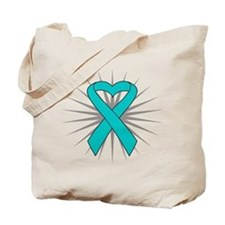 Ovarian Cancer Heart Ribbon Tote Bag