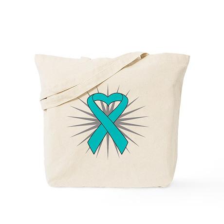 Ovarian Cancer Heart Ribbon Tote Bag