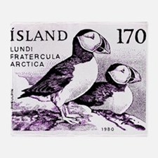1980 Iceland Atlantic Puffins Postage Stamp Throw