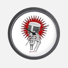 Rockabilly Microphone Wall Clock