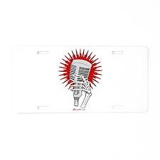 Rockabilly Microphone Aluminum License Plate