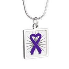 Pancreatic Cancer Heart Silver Square Necklace