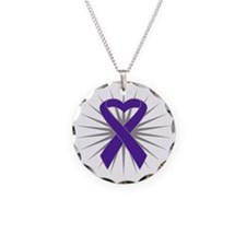 Pancreatic Cancer Heart Necklace