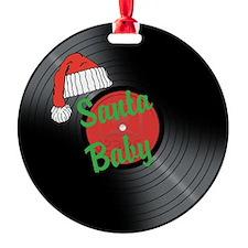 Santa Baby Vinyl Record - Round Ornament
