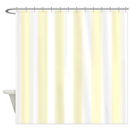 Lemon Drop Yellow Stripes Shower Curtain By FamilyFunShoppe