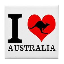 I Love Australia Tile Coaster