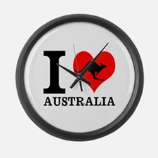I Love Australia Large Wall Clock