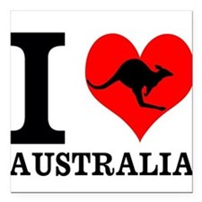 "I Love Australia Square Car Magnet 3"" x 3"""